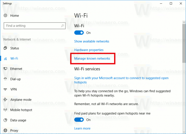 Windows 10 Wifi Manage Known Networks