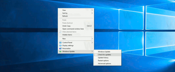 Windows Update Context Menu Windows 10