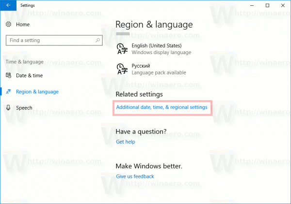 Additional Language Settings Link
