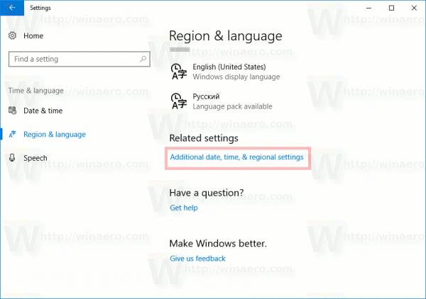 Additional Language Settings Link