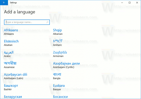 List Of Available Languages