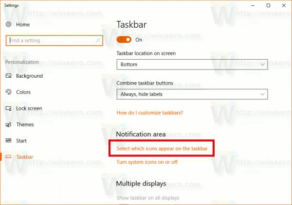 Taskbar Properties Tray Icons Link
