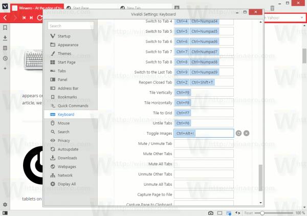 Vivaldi Toggle Images Hotkey