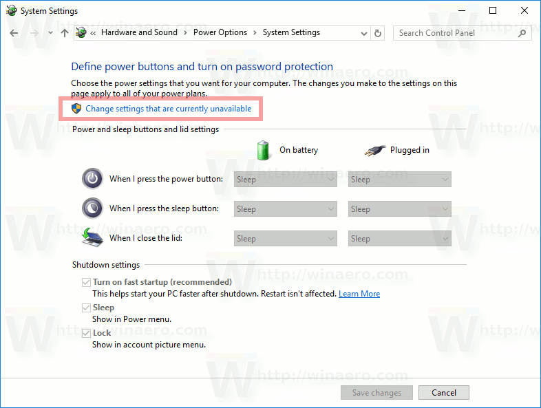 Change Settings That Are Currently Unavailable Windows 10