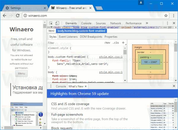 Chrome 59 Dev Tools