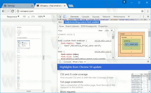 Chrome 59 Dev Tools Mobile View