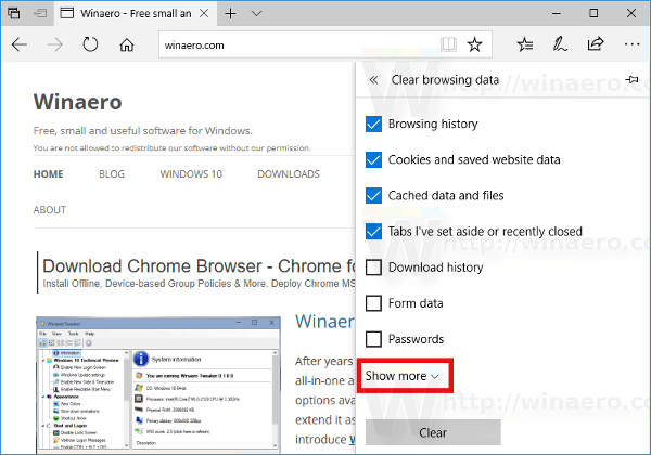 Edge Clear Browsing Data Show More