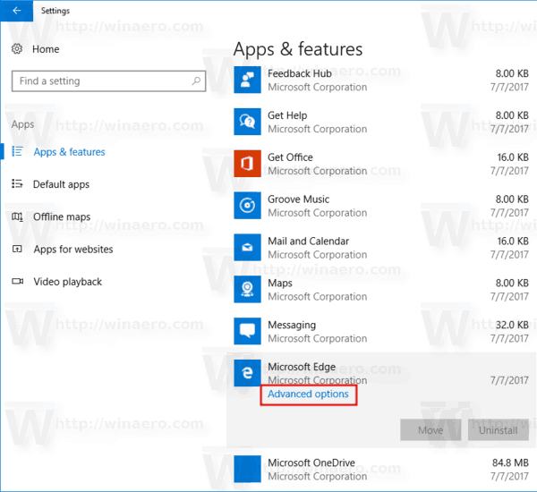 Fall Creators Update Advanced Options Link In Apps