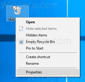 Recycle Bin Properties Context Menu
