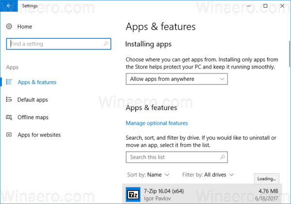 Settings Apps Apps And Features