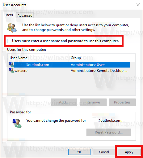 Users Must Enter A User Name And Password To Use This PC