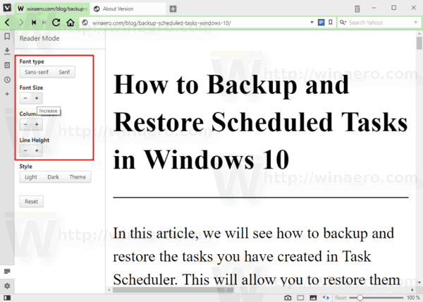 Vivaldi Reader Mode Font Settings