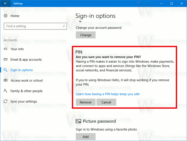 how to remove pin from your account in windows 10