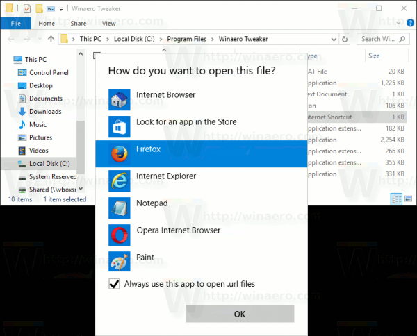 Windows 10 Open With For URL Files In Action