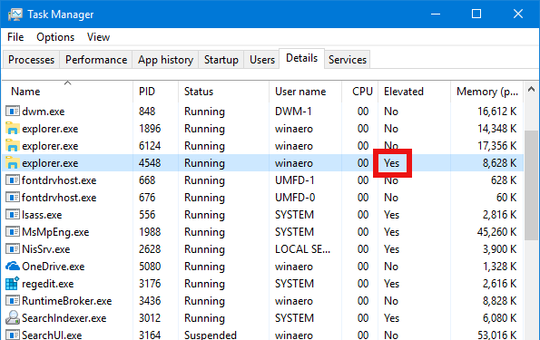 Windows 10 Run Explorer Elevated