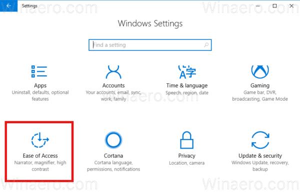 Windows 10 Settings Ease Icon
