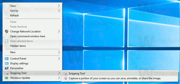 Windows 10 Add Snipping Tool Context Menu