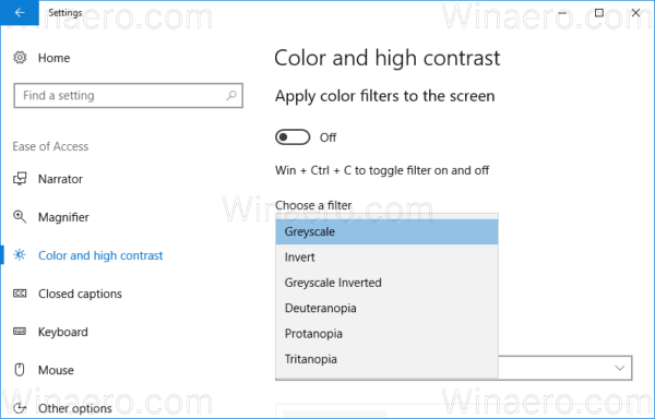 Windows 10 Choose Color Filter