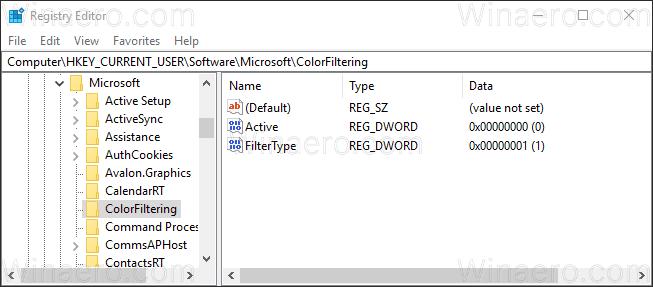 Windows 10 Color Filter Registry Tweak