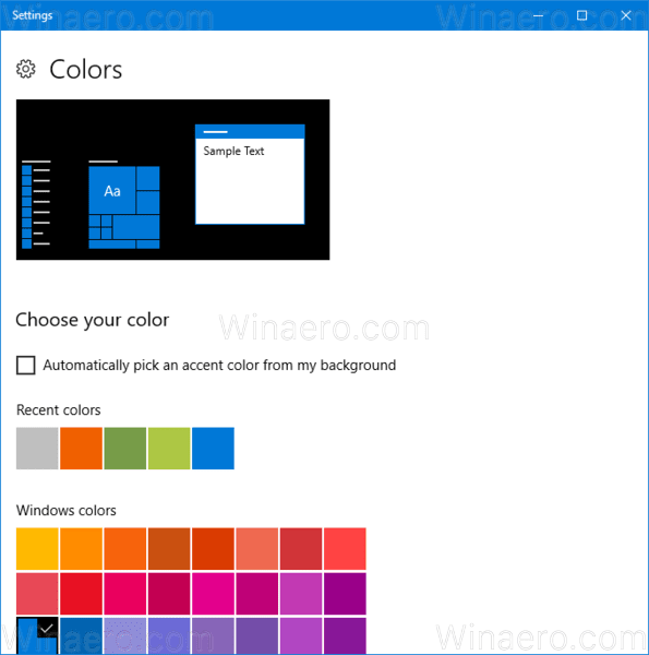 Windows 10 Colors Page