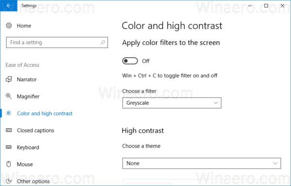 Windows 10 Configure Color Filters