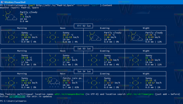 Windows 10 Country Weather In Powershell