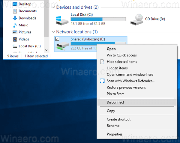 Windows 10 Disconnect Drive Context Menu Of Drive