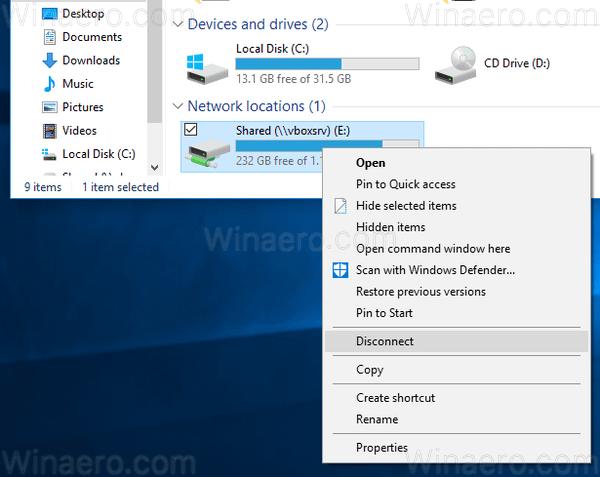 Windows 10 Disconnect Drive Context Menu Of Drive