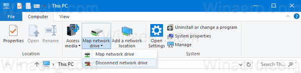 Windows 10 Disconnect Drive Ribbon