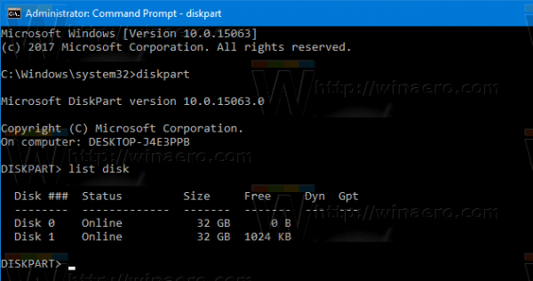 Windows 10 Diskpart List Disk