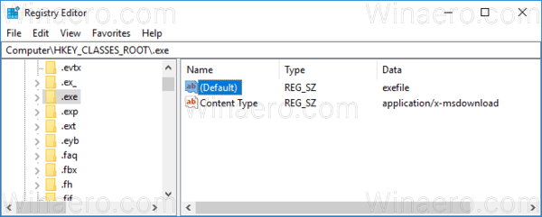 Windows 10 Exe Extension Key