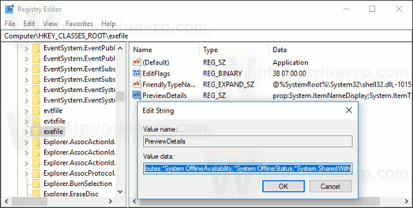 Windows 10 Exefile PreviewDetails Value