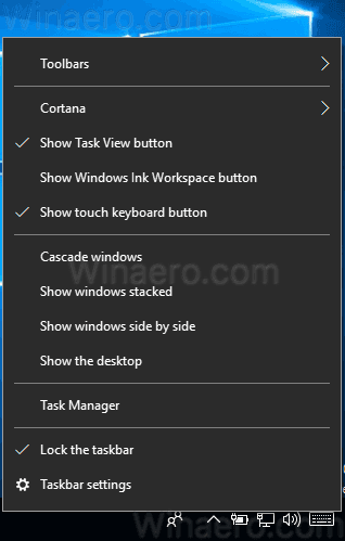 Windows 10 Taskbar Context Menu