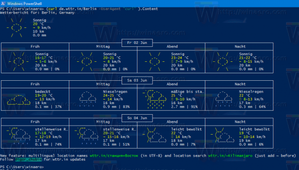Windows 10 Weather In PowerShell Translated To German