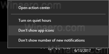 Action Center Context Menu