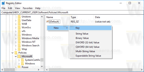 Create IE Policies Key 1