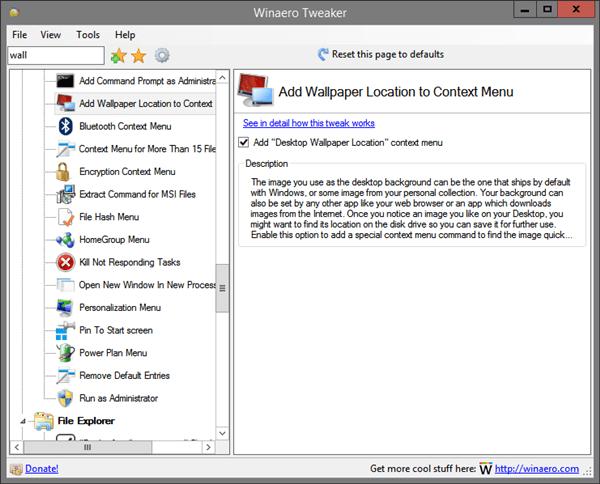Tweaker Desktop Wallpaper Location