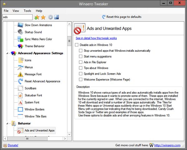 Tweaker Disable Ads In Windows 10