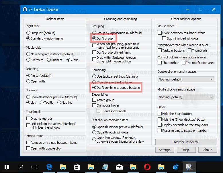 Windows 10 Dont Group Taskbar Buttons