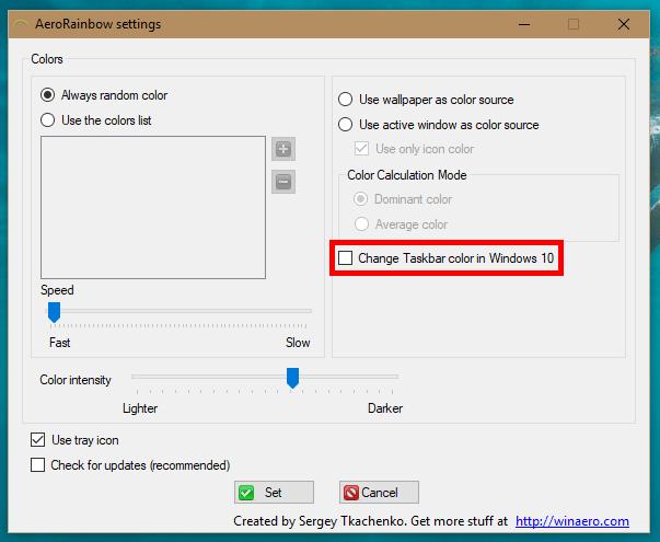 AeroRainbow Change Windows 10 Taskbar Color