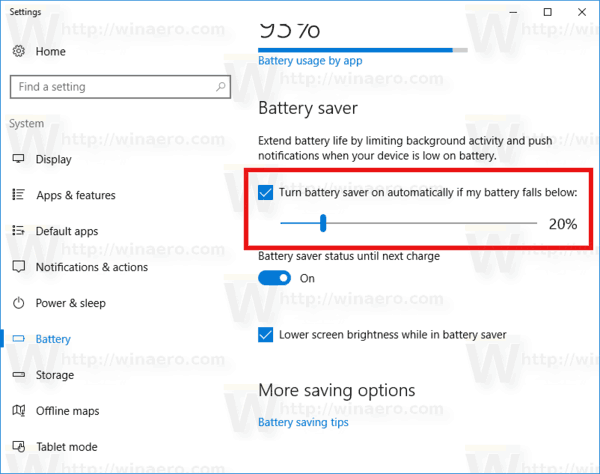 Auto Battery Saver Enabled In Settings In Windows 10