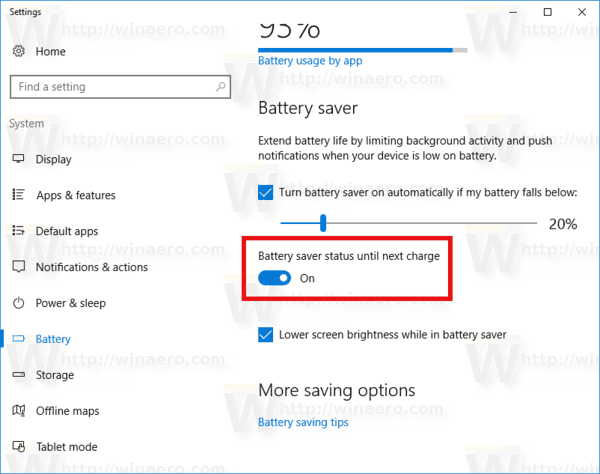Battery Saver Enabled In Settings In Windows 10