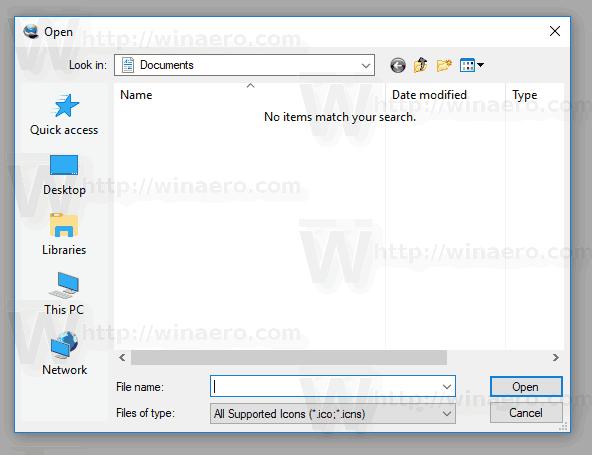 Classic Open Dialog Windows 10