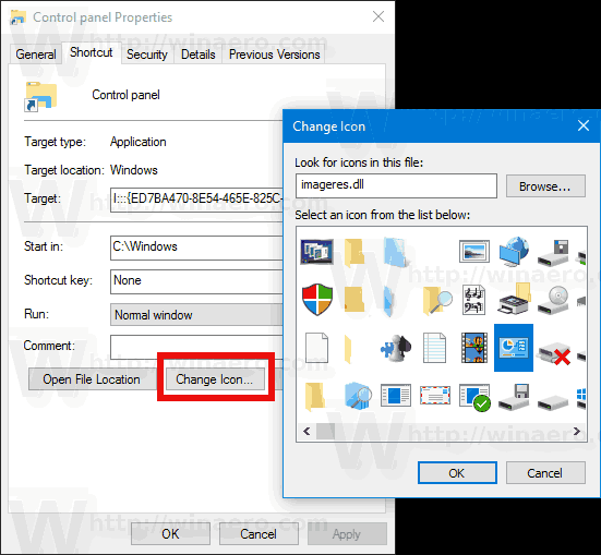 Control Panel Shortcut Change Icon