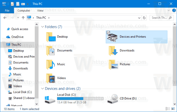 Devices And Printers In This PC In Folders