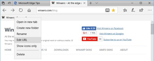 Edge Favorites Bar Edit Url