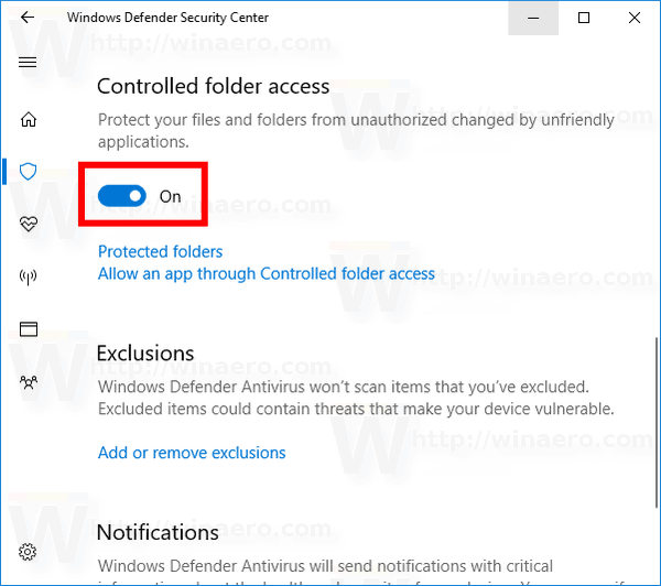 Enable Controlled Folder Access In Windows 10