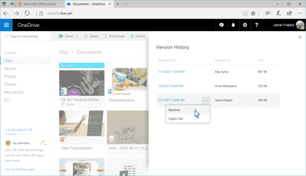 Expanding OneDrive Version History 3 1024x588