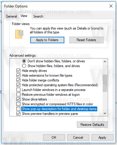 Folder Properties Disable Tooltips