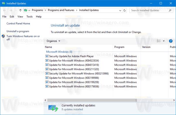 Installed Updates Windows 10